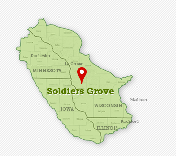 Soldiers Grove is located in the Heart of the Driftless Region